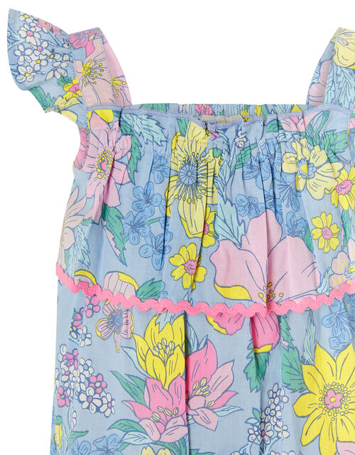 Baby Floral Romper in Pure Cotton, Blue (BLUE), large