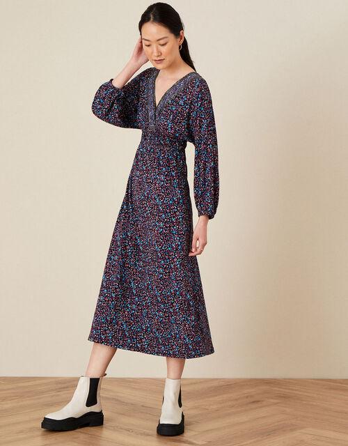 Delilah Dolman Embroidered Dress , Blue (NAVY), large