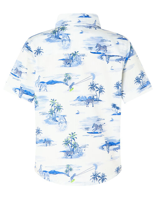 Alika Animal Shirt in Organic Cotton, Ivory (IVORY), large