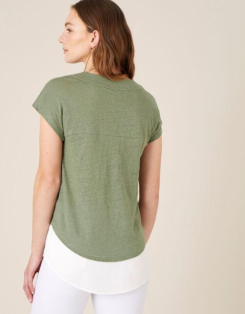 Lenny Woven Mix Top in Linen Blend, Green (KHAKI), large