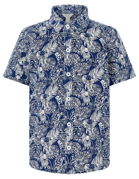 George Animal Print Short Sleeve Shirt Blue, Blue (NAVY), large