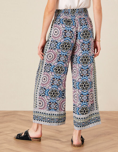 Leighton Printed Wide Leg Trousers , Blue (BLUE), large