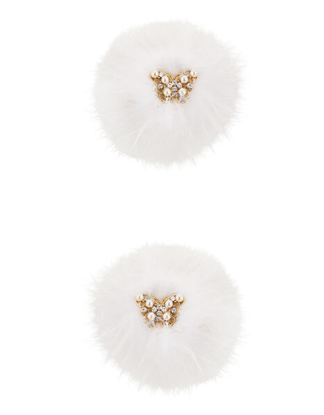 Fluffy Pearl Cluster Hair Clip Set, , large