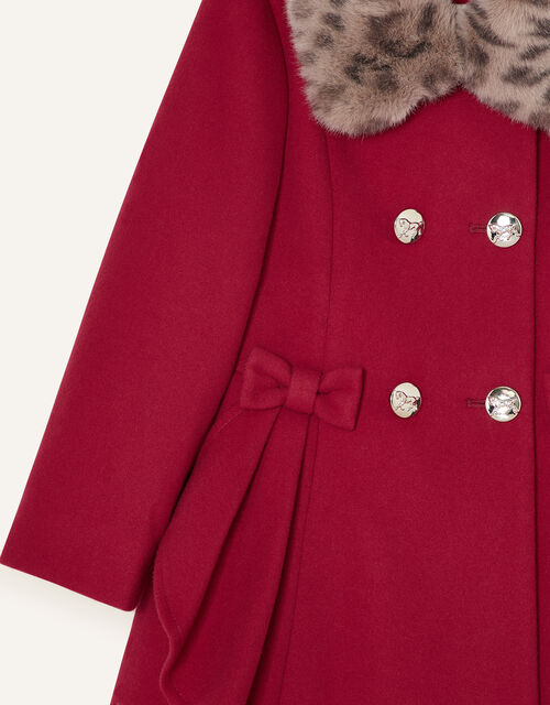 Detachable Leopard Collar Ruffle Coat, Red (RED), large