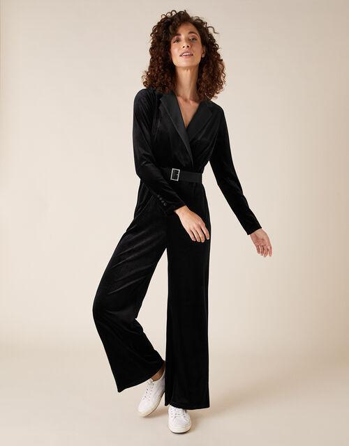 Sheena Stretch Velvet Wide-Leg Jumpsuit, Black (BLACK), large