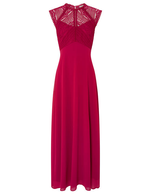 Lolita Maxi Dress with Lace Bodice, Red (BERRY), large