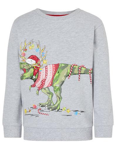 XMAS Dinosaur Sweatshirt Grey, Grey (GREY), large