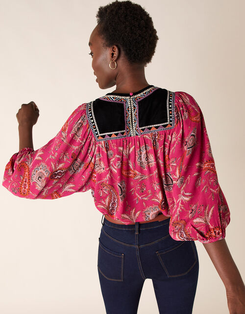 Paisley Print Embroidered Top in Sustainable Viscose, Pink (PINK), large