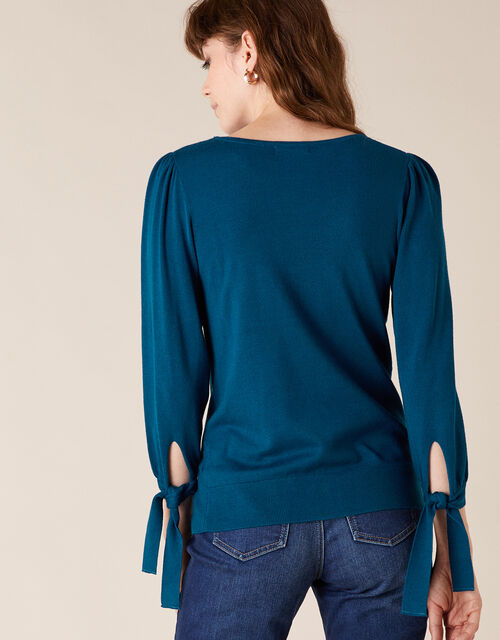 Tie Cuff Knit Jumper with LENZING™ ECOVERO™, Teal (TEAL), large