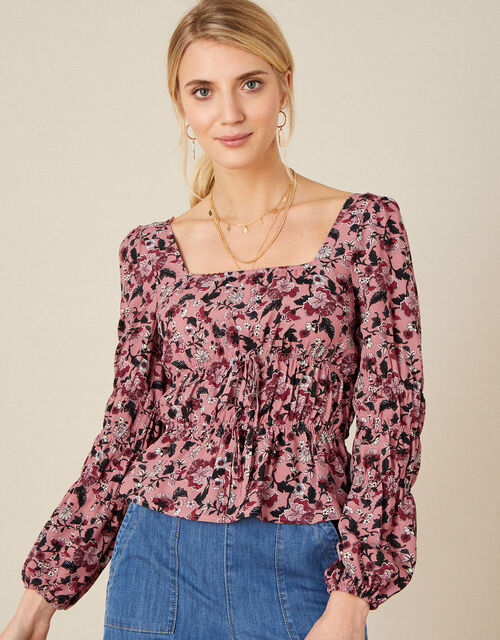 Sophie Floral Shirred Top, Red (RED), large
