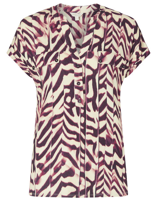 Animal Print Short Sleeve Shirt, Red (RED), large
