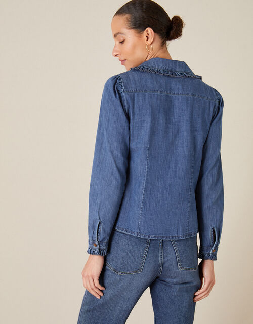 Frill Collar Denim Shirt, Blue (DENIM BLUE), large