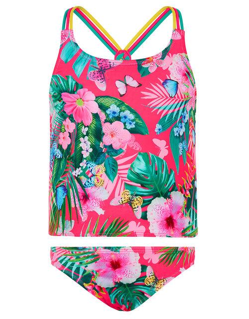 Palm Print Tankini Set, Pink (PINK), large