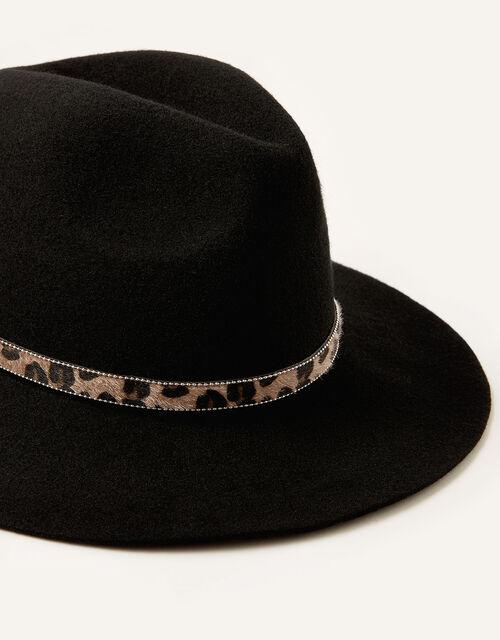 Animal Trim Fedora Hat, , large