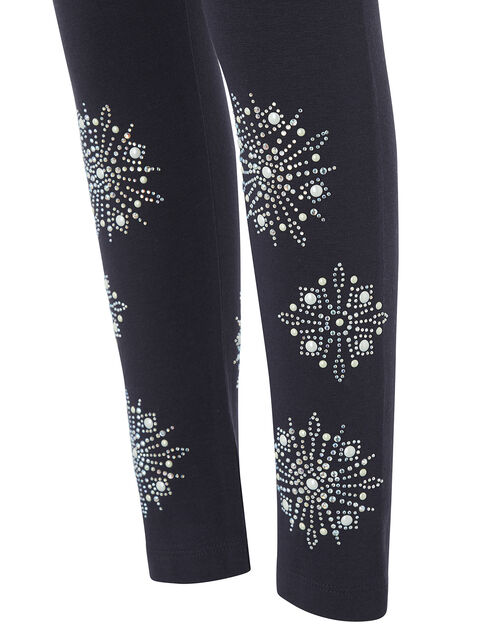 Snowflake Embellished Leggings, Blue (NAVY), large