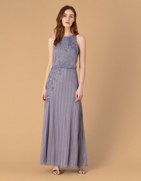 Summer Beaded Floral Maxi Dress Blue, Blue (DARK BLUE), large