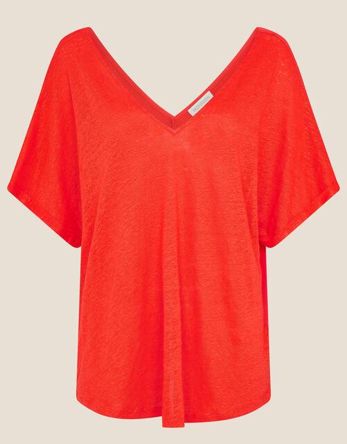 Camilla T-Shirt in Linen Blend, Orange (CORAL), large