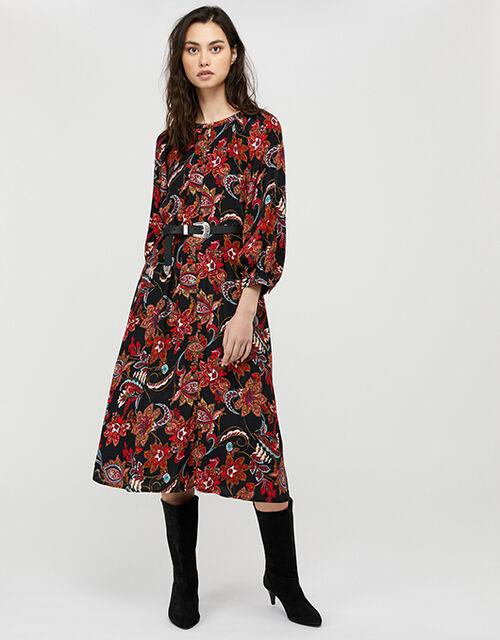 Danny Paisley Print Midi Dress, Black (BLACK), large