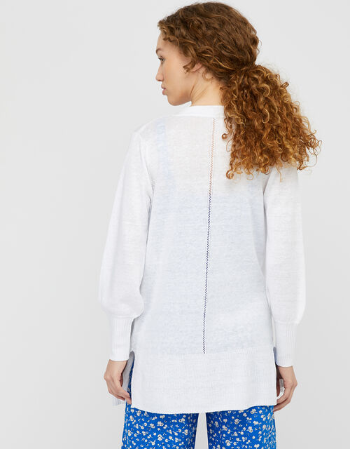 Longline Knit Cardigan in Pure Linen, White (WHITE), large