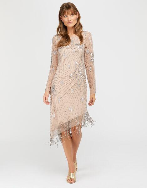 Shoshanna Embellished Fringe Tunic Dress Nude, Nude (NUDE), large