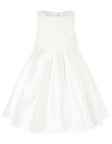 Lace Bodice Duchess Twill Dress Ivory, Ivory (IVORY), large