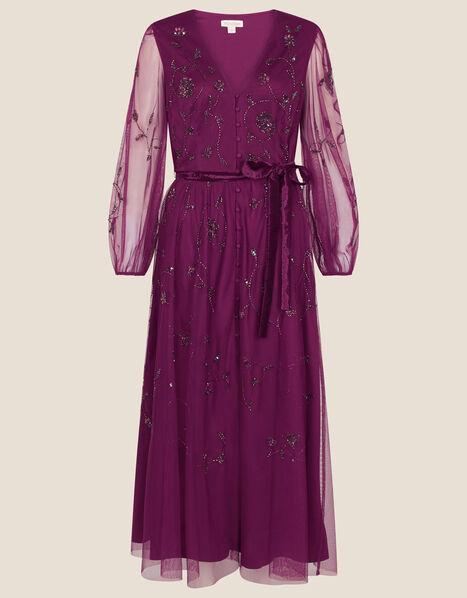 Eva Long Sleeve Midi Dress Purple, Purple (PLUM), large