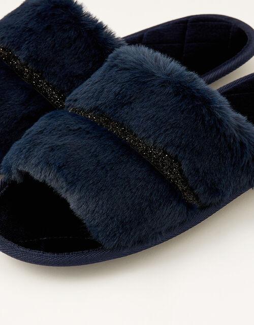 Glitter Trim Faux Fur Slippers, Blue (NAVY), large