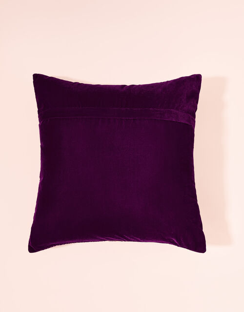 Leaf Foil Printed Velvet Cushion, , large