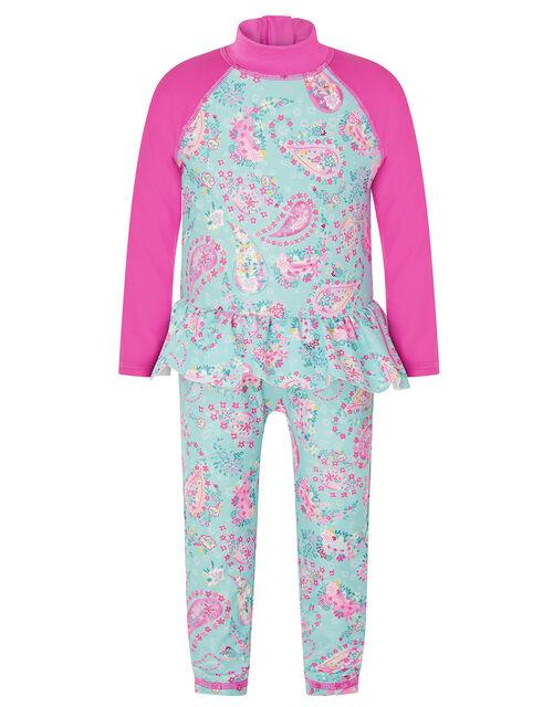 Baby Paisley Frill Sunsafe Swimsuit, Blue (TURQUOISE), large