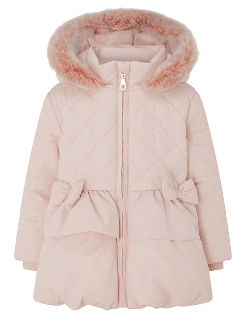 Padded Bow Puffball Coat, Pink (PINK), large