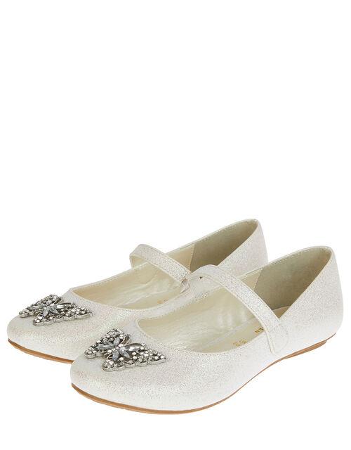 Carmen Butterfly Sparkle Ballerina Flats, Ivory (IVORY), large