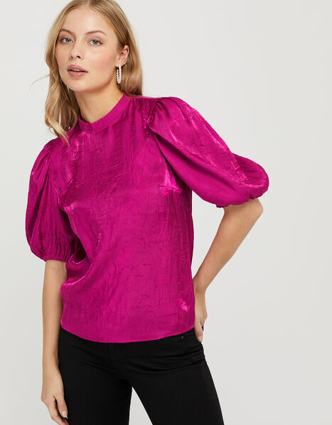 Cassidy Crinkle Puff Sleeve Blouse Pink, Pink (PINK), large