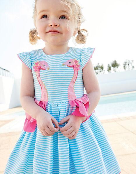 Baby Stripe Flamingo Dress  Blue, Blue (BLUE), large