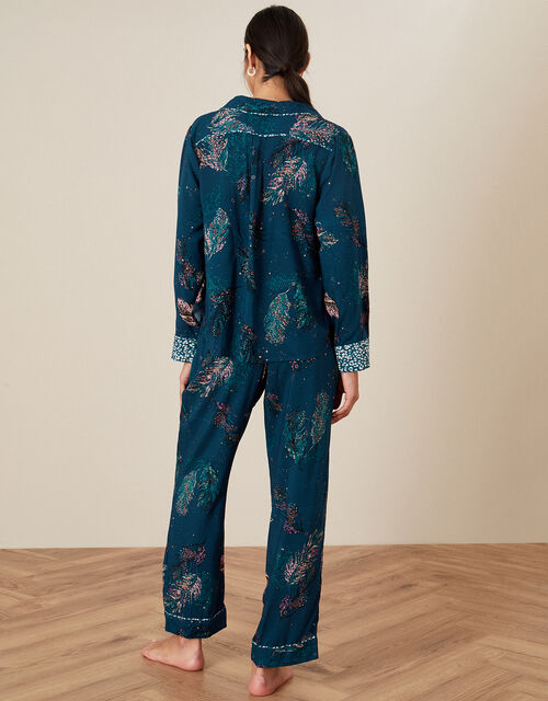 Feather Print Pyjama Set in Sustainable Viscose, Teal (TEAL), large