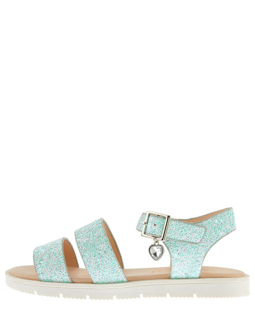 Edie Frosted Glitter Sandals, Green (MINT), large