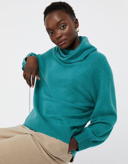 Mika Cowl Neck Knit Jumper, Green (GREEN), large