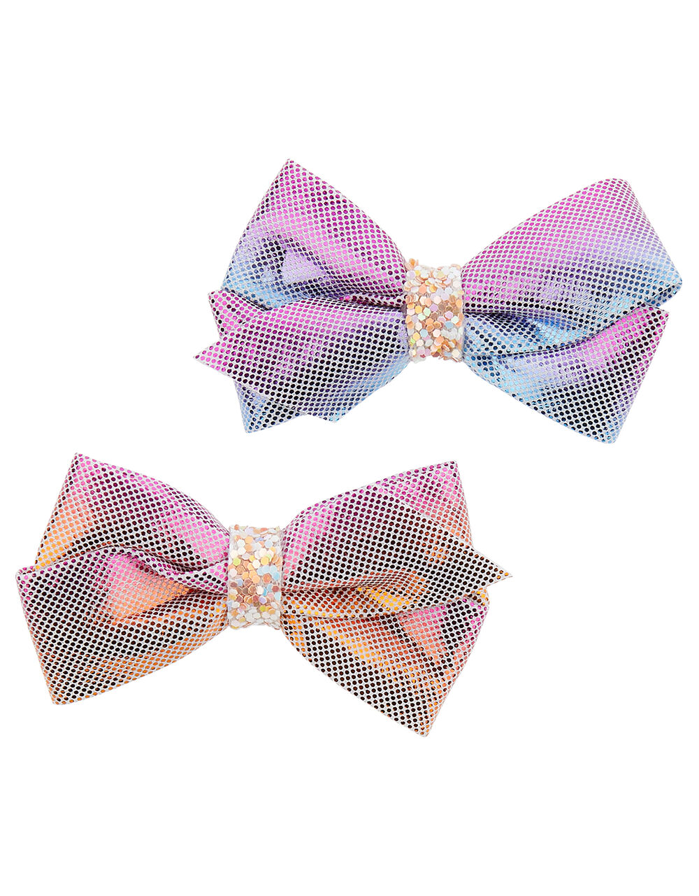 Rainbow Shimmer Bow Hair Clips , , large