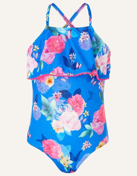 Floral Print Frill Swimsuit Blue, Blue (BLUE), large