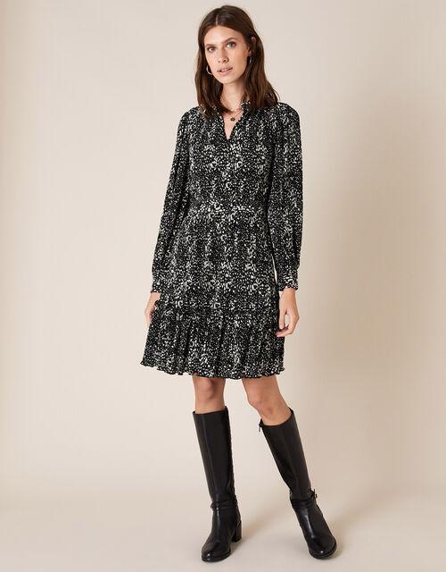 Printed Plisse Tiered Short Dress, Black (BLACK), large