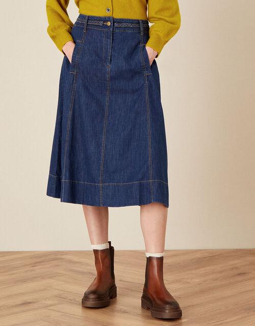 A-Line Denim Skirt, Blue (DENIM BLUE), large