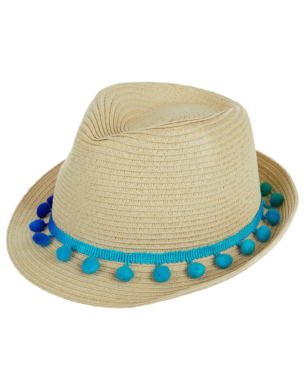Pom-Pom Trilby Hat, Natural (NATURAL), large
