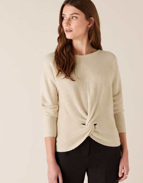 Twist Front Knit Jumper Ivory, Ivory (IVORY), large