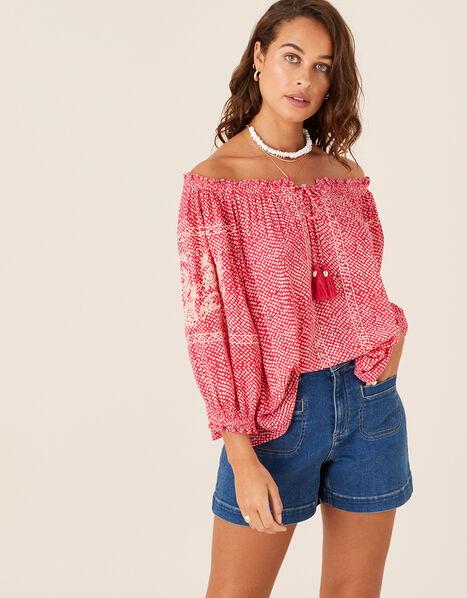 Printed Off-Shoulder Top Pink, Pink (PINK), large
