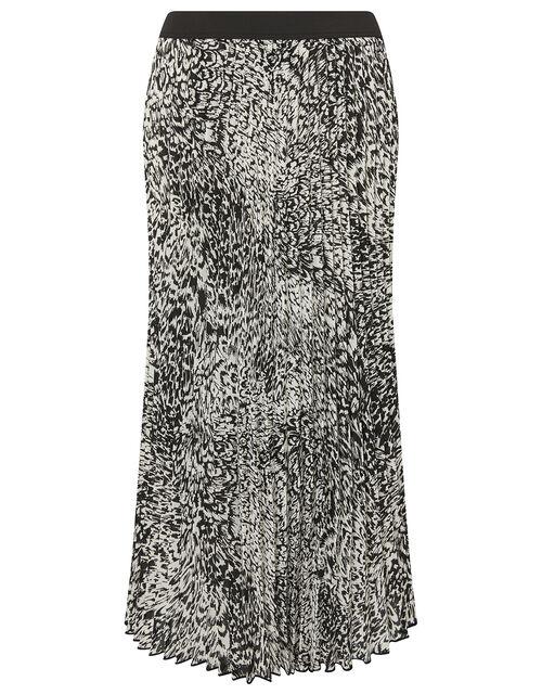 Animal Print Pleated Midi Skirt, Black (BLACK), large