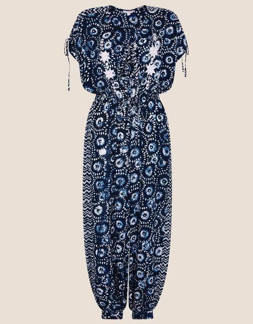 Batik Print Jumpsuit, Blue (NAVY), large