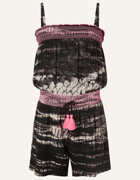 Tie Dye Playsuit in LENZING™ ECOVERO™  Black, Black (BLACK), large
