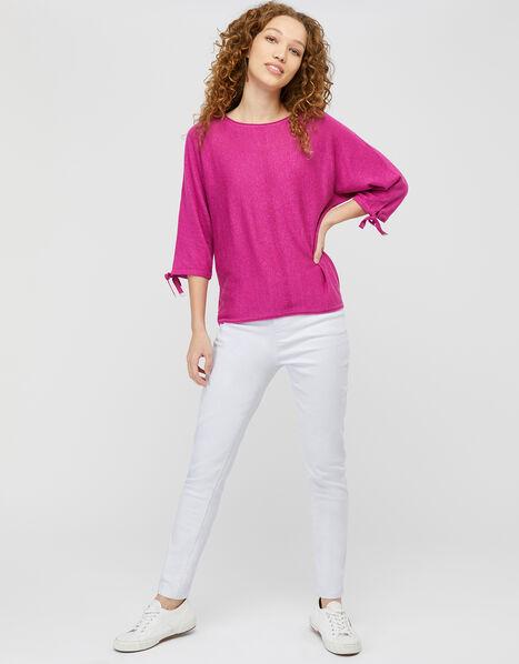 Tie Sleeve Knit Jumper in Linen Blend Pink, Pink (PINK), large