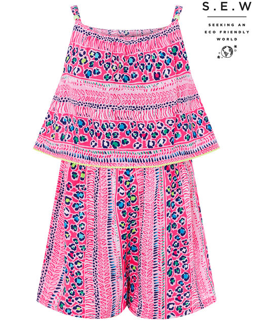 Ava Printed Playsuit in LENZING™ ECOVERO™, Pink (PINK), large