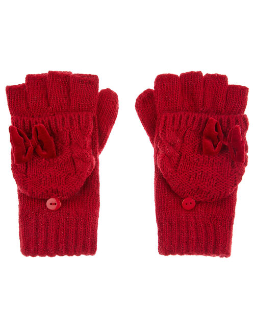 Ruby Bow Capped Gloves, Red (RED), large