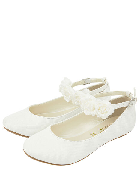 Amy Floral Strap Ballerina Shoes Ivory, Ivory (IVORY), large